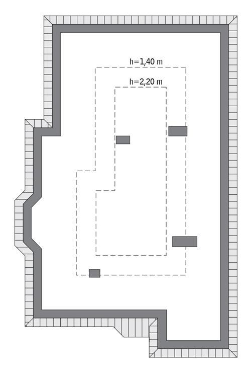 Rzut poddasza: do indywidualnej adaptacji o powierzchni około 58 m2 (h>1,90 m)