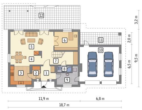 Rzut parteru POW. 123,2 m²