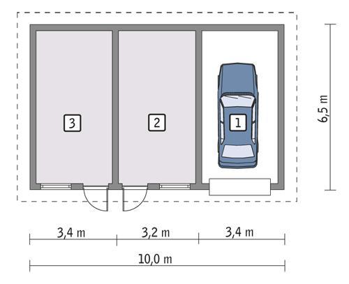 Rzut parteru POW. 53,6 m²