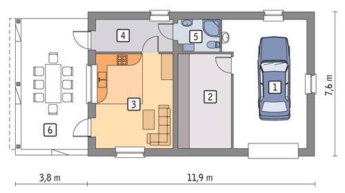 Rzut parteru POW. 70,7 m²
