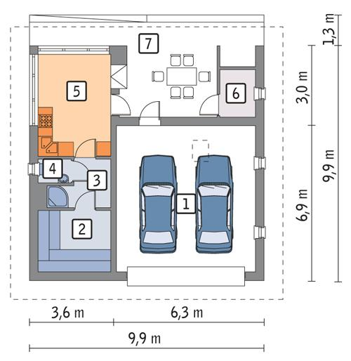 Rzut parteru POW. 65,1 m²