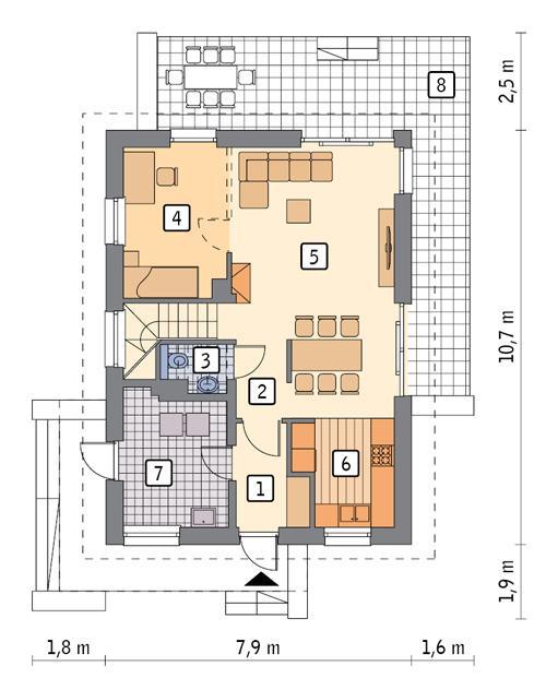 Rzut parteru POW. 59,9 m²