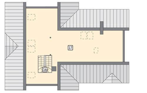 Rzut poddasza: II etap realizacji - do indywidualnej aranżacji (45,5 m2 powierzchni użytkowej)