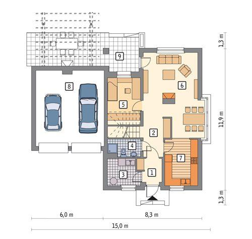 Rzut parteru POW. 106,3 m²
