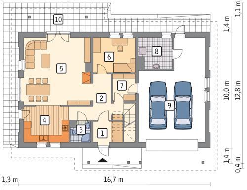 Rzut parteru POW. 125,6 m²