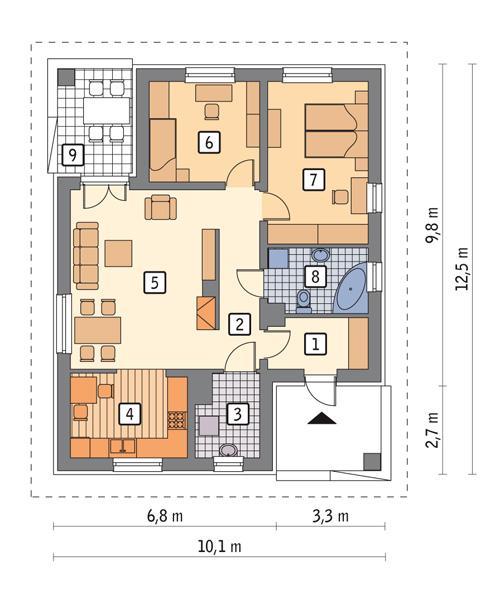 Rzut parteru POW. 79,2 m²