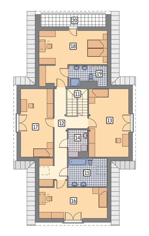 Rzut poddasza POW. 144,8 m²