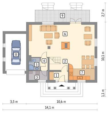 RZUT PARTERU POW. 66,6 m²