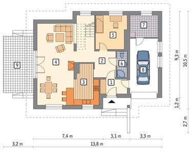 RZUT PARTERU POW. 73,9 m²