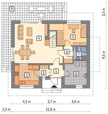RZUT PARTERU POW. 60,0 m²