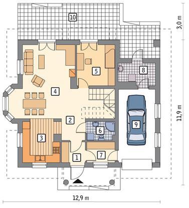 RZUT PARTERU POW. 66,2 m²